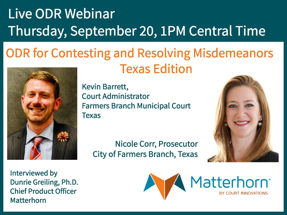 Texas ODR webinar announcement: Contesting and Resolving Misdemeanors Online - Texas Edition