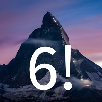 A photo of a mountain with the number 6 superimposed on it.