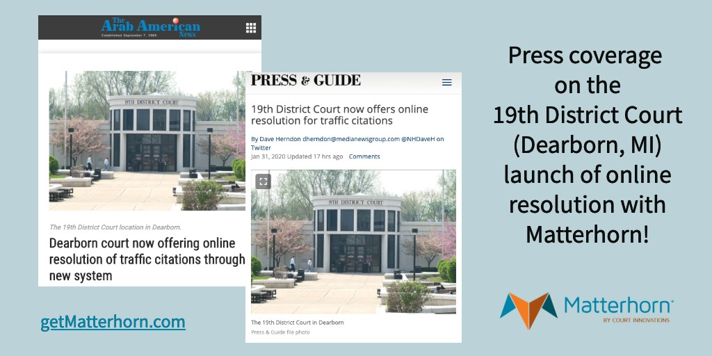 Images of news articles on the 19th District Court launch in the Arab American Press and the Press & Guide.