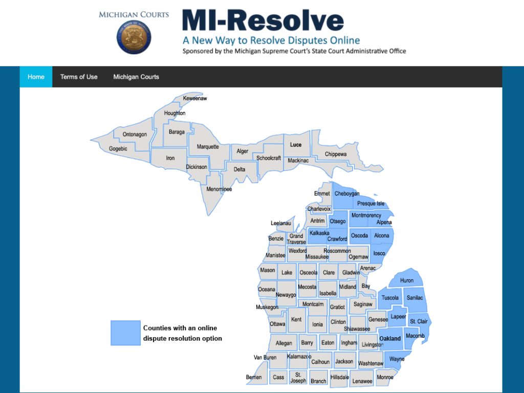 Michigan counties with access to MI-Resolve ODR as of April 21, 2020