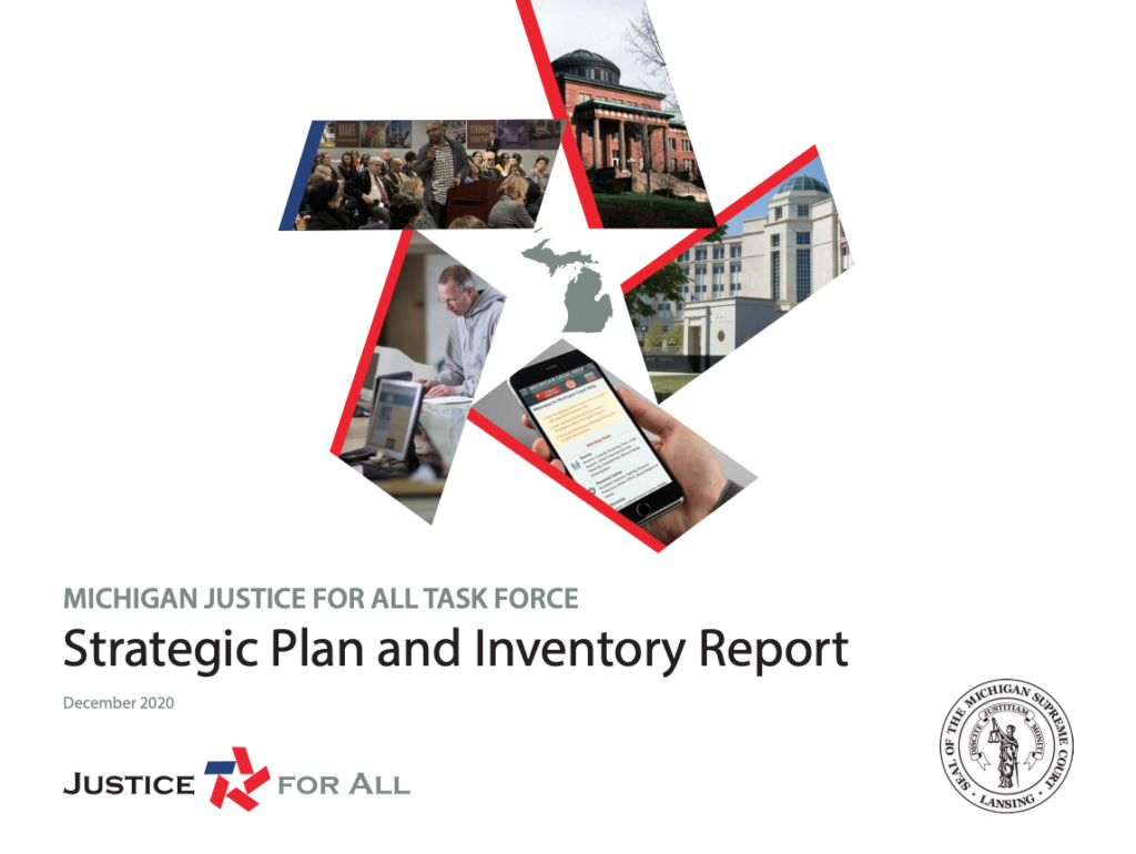 Cover of the Michigan Justice for All Task Force Strategic Plan and Inventory Report