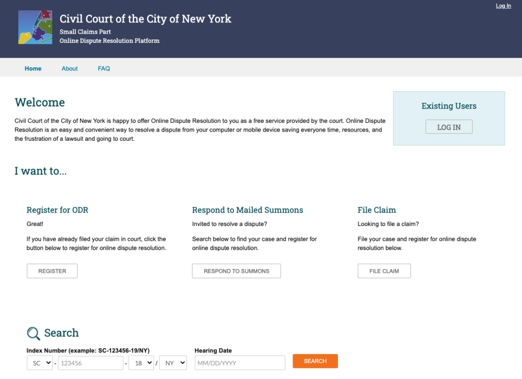 A screenshot of the Civil Court of the City of NY's ODR homepage.
