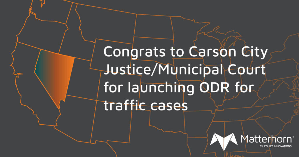 """A map of the United States with Nevada emphasized. The words on the graphic say """"Congrats to Carson City Justice/Municipal Court for launching ODR for traffic cases."""""""